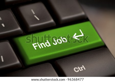 the green find job enter button key - stock photo