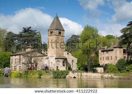The green island Ile Barbe in the Saone in the 9th arrondissement of Lyon during a spring day.  - stock photo