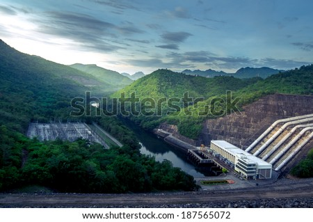 The green mountain with lake when the sunrise - stock photo