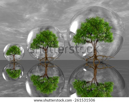 the green trees in bubbles - stock photo