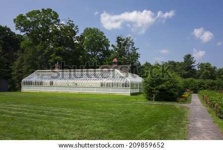 The greenhouse on the grounds of the Franklin D. Roosevelt historic site in Hyde Park, New York.  (US National Park) - stock photo