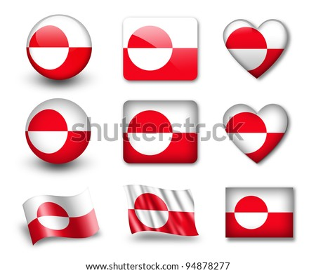 The Greenland flag - set of icons and flags. glossy and matte on a white background.