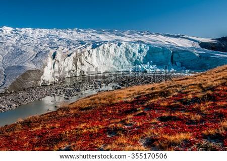 The Greenland glacier (Russell Glacier) - stock photo