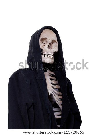 The grim reaper standing a death watch isolated on white with a clipping path.