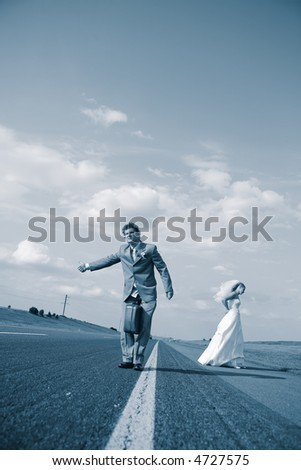 The groom and the bride - stock photo