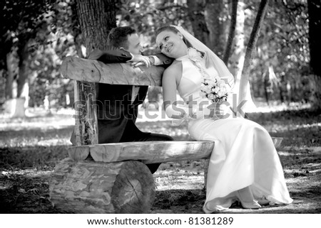 The groom with the bride on a bench