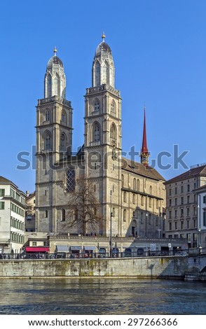 The Grossmunster is a Romanesque-style Protestant church in Zurich, Switzerland. It is one of the three major churches in the city - stock photo