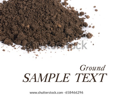 The ground closeup isolated on white background