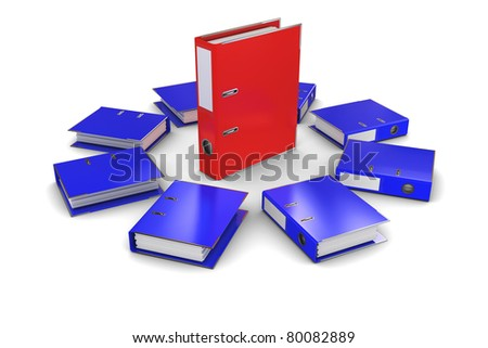 The group of blue folders office around the red folder