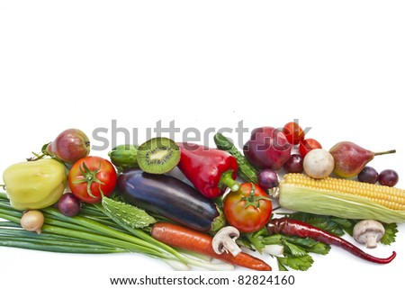 The group of fruits and vegetables with white background