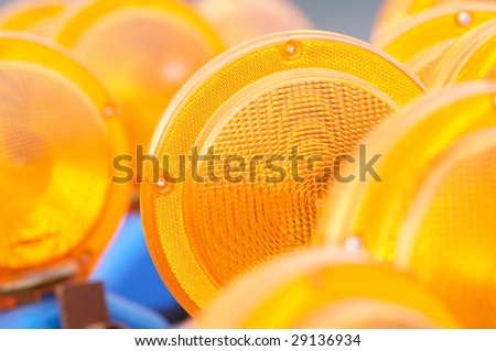 The group of reflectors, focus on one of them - stock photo