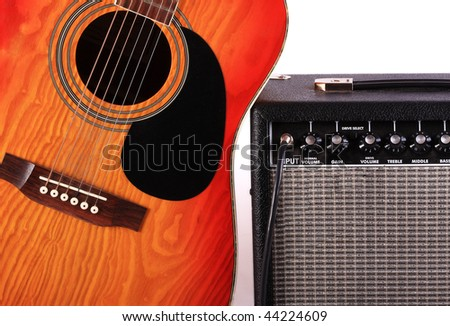 The guitar connected to the sound amplifier is used at concerts fate of groups - stock photo