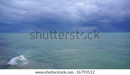 The Gulf St Vincent with an approaching rain front (Adelaide, Australia). - stock photo