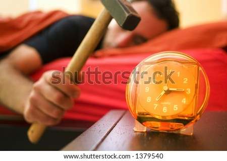 the guy doesnt want to get up! - stock photo