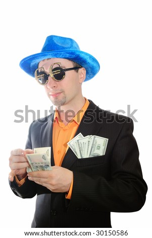 The guy in a suit considers money. Isolate on white. - stock photo