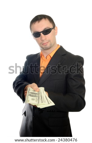 The guy in dark glasses transfers money. Isolate on white. - stock photo