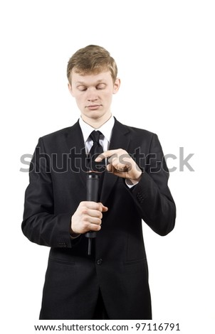 the guy knocks on the microphone isolated on a white background