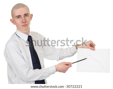 The guy with the financial graph in hands - stock photo