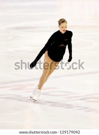 THE HAGUE - FEB 22: Carolina Kostner of Italy skates during warm-up at the Challenge Cup, figure skating competition, held on February 22, 2013 in The Hague, the Netherlands