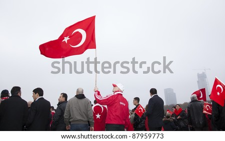 THE HAGUE - OCTOBER 30: Unidentified Turkish men and women protest against the Kurdistan Workers Party (PKK) on October 30, 2011 in The Hague, The Netherlands.