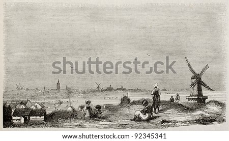 The Hague old view, The Netherlands. By unidentified author, published on Magasin Pittoresque, Paris, 1845 - stock photo