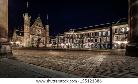 THE HAGUE, THE NETHERLANDS - JANUARY 14: Night view of the Dutch parliament and court building inside the Binnenhof complex on January 14, 2011 in The Hague, The Netherlands.