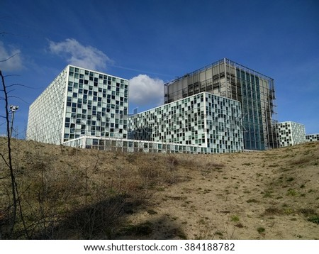 THE HAGUE, THE NETHERLANDS - MARCH 2016: International Criminal Court ICC,  The new, permanent premises are located in dune landscape at Oude Waalsdorperweg