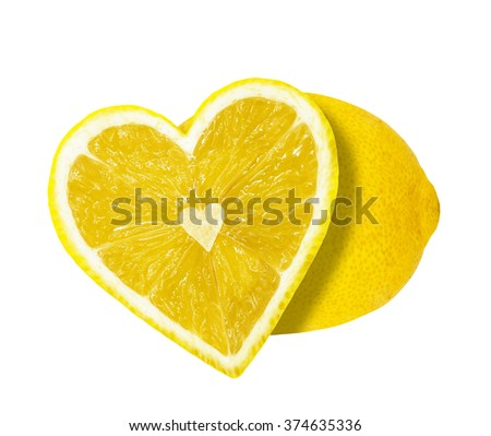 The half of the lemon in the form of heart isolated on a white