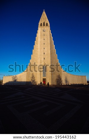 The Hallgrims Church downtown Reykjavik. - stock photo