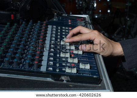 The hand adjust sound audio mixer board