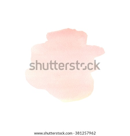 The hand drawn abstract art watercolor background of pastel natural pink or blush color. A watercolor spot. Watercolor stain. Watercolor isolated stain. Watercolor pink stain. - stock photo