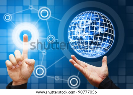 The Hand grab The Digital World and point to digital button background