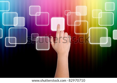 The hand is pressing the button - stock photo