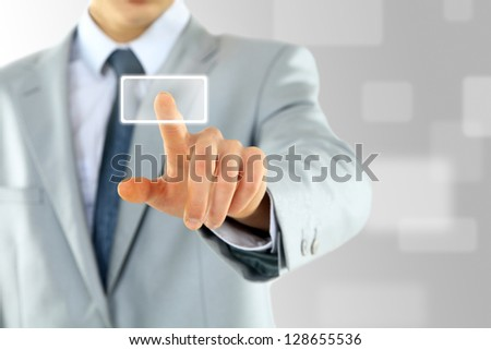 The hand of businessman on the flow of several button - stock photo