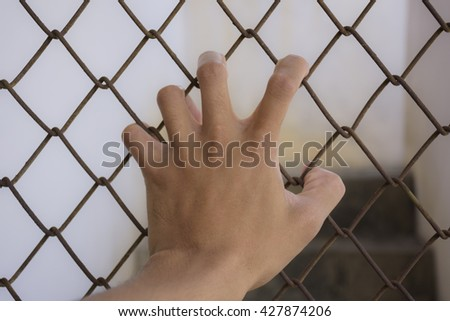 The hand of the catch wire mesh.
