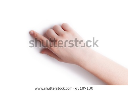 The hand specifies in a point on a white background - stock photo