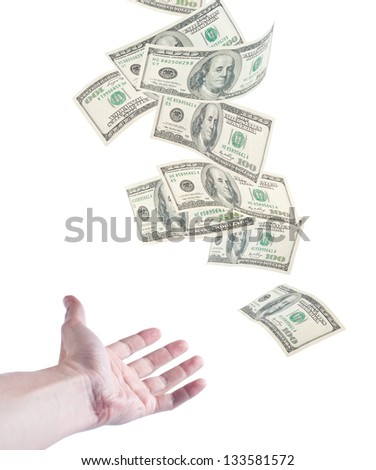 The hand want to catch falling money, isolated on white background