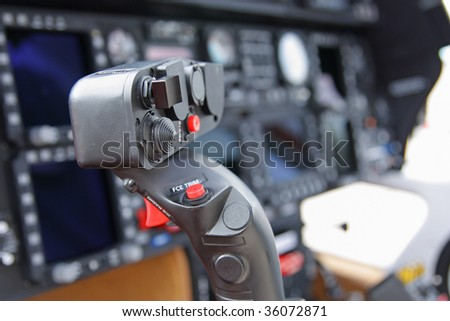 The handle of driving by helicopter (small depth of sharpness) - stock photo