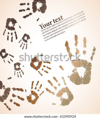 the handprint color background - stock photo
