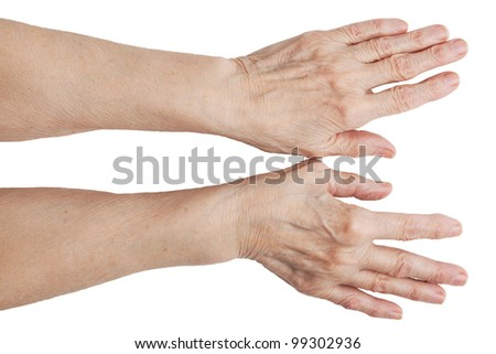 The hands of an old man on a white background