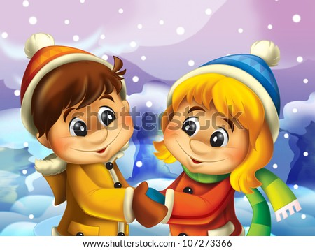 The happy couple in the winter holding hands - looking at each other - stock photo