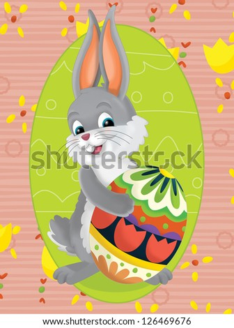 The happy easter chickens - illustration for the children - stock photo