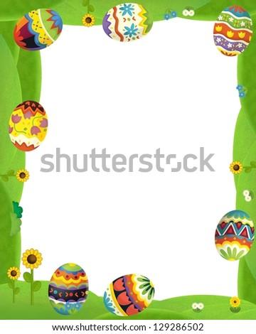 The happy easter frame - illustration for the children - stock photo
