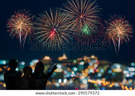 The happy family looks celebration fireworks in the night sky  - stock photo