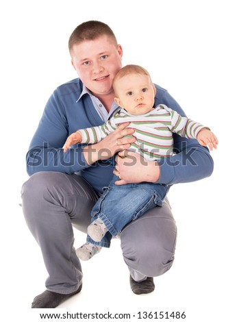 the happy father is sitting with a baby isolated on white background