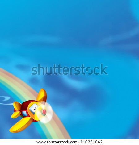 The happy plane is flying on the sky - near the rainbow - illustration for the children - with space for text 3 - stock photo