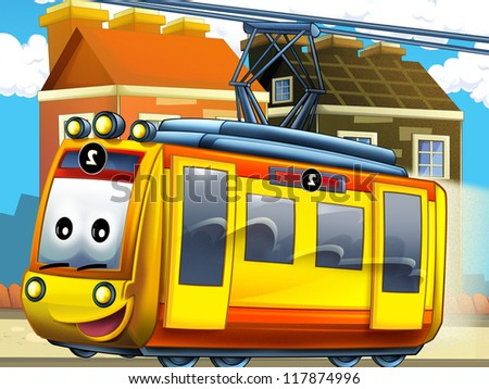 The happy tram in the city - illustration for the children - stock photo