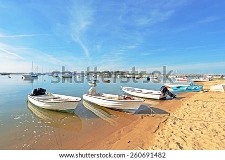 The harbor from Alvor in the Algarve Portugal - stock photo