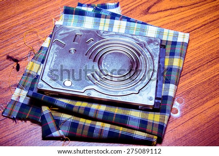 the Harddisk for the data computer - stock photo