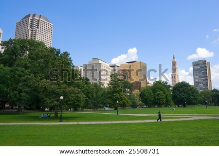 The Harford Connecticut city skyline as seen from Bushnell Park. - stock photo